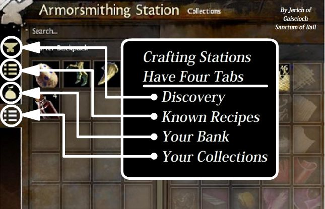 The tabs of the crafting station